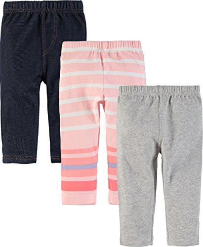 Wan-A-Beez Baby Boys' and Baby Girls' 3 Pack Pants (18 Months, Grey/Denim/Pink Stripe)