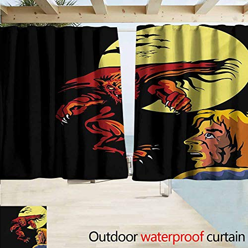 AndyTours Exterior/Outside Curtains,Cartoon Comics Super Heros Monsters Werewolf Enemy of Dracula Attacking Moment Art Print,Rod Pocket Energy Efficient Thermal Insulated,W63x63L Inches,Multicolor]()