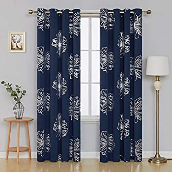 Amazon Com Deconovo Grommet Drapes Flower Foil Printed