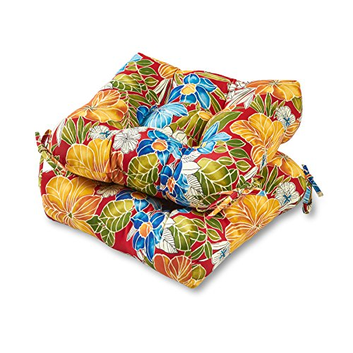 Greendale Home Fashions 20-inch Outdoor Chair Cushion (set of 2), Aloha Red