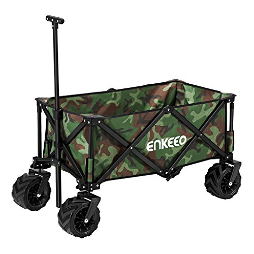 ENKEEO Foldable Utility Wagon Collapsible Sports Outdoor Cart with Large Capacity and Tilting Handle for Camping Beach Sporting Events Concerts, Camo by ENKEEO