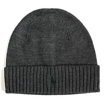 f4beb611af8 Ralph Lauren Polo merino wool beanie hat Dark Grey One  Amazon.co.uk ...