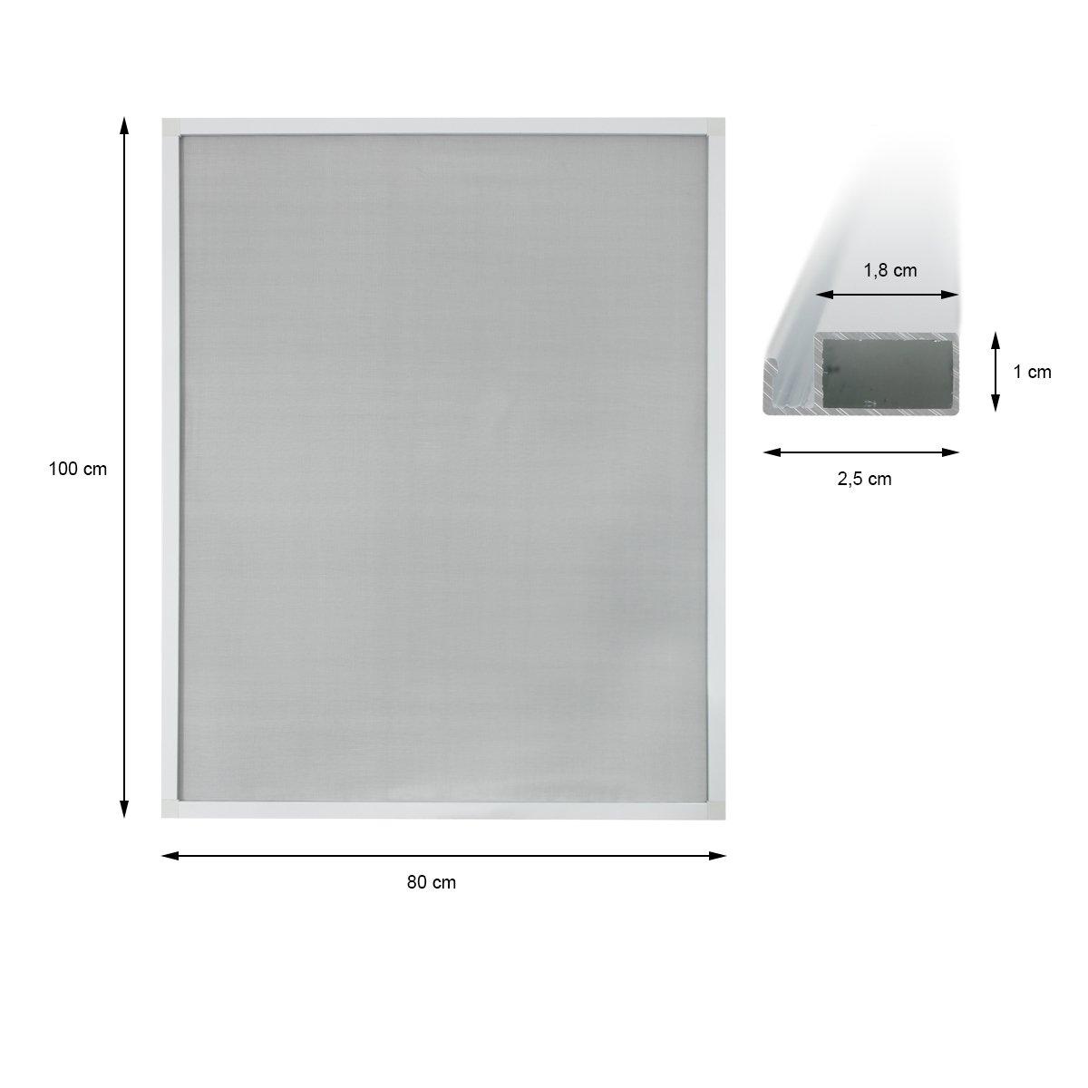 ECD Germany 5-er Pack Fliegengitter mit Rahmen Rahmen Rahmen aus Aluminium - wetterfestes Moskitonetz aus Fiberglasgewebe für Fenster - 120x140 - weiß Anthrazit B01J5UM8GY Seitenzug- & Springrollos 121d28