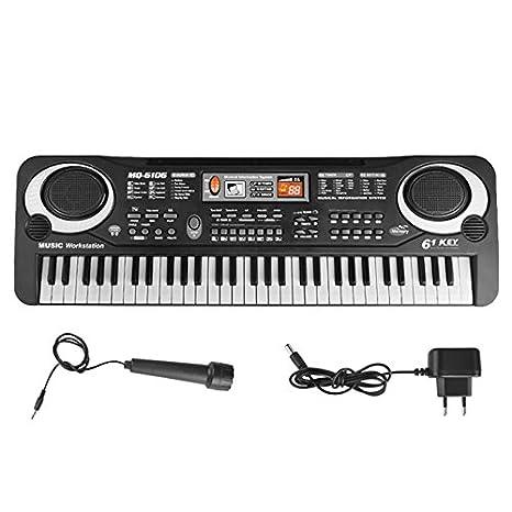 Piano para niños, 61 teclas de música portátil Teclado electrónico órgano digital Piano musical Enseñanza
