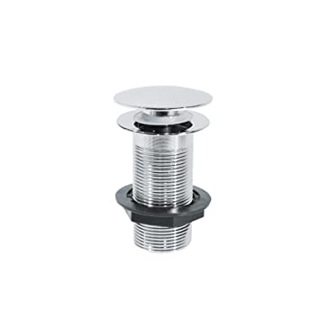 Basin Sink Waste Chrome Unslotted Pop Up Push Button Clicker Sprung Plug Bathroom Fitting Cap