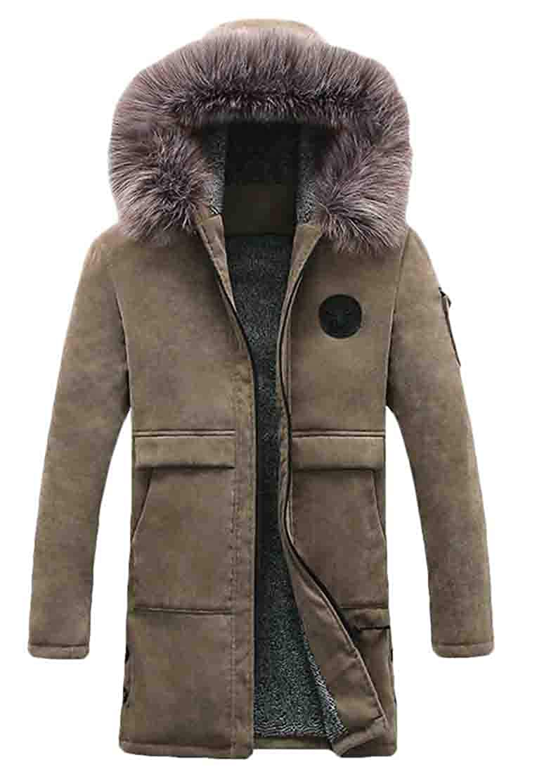 Domple Mens Quilted Faux Fur Outdoor Warm Zipper Hooded Long Down Jacket