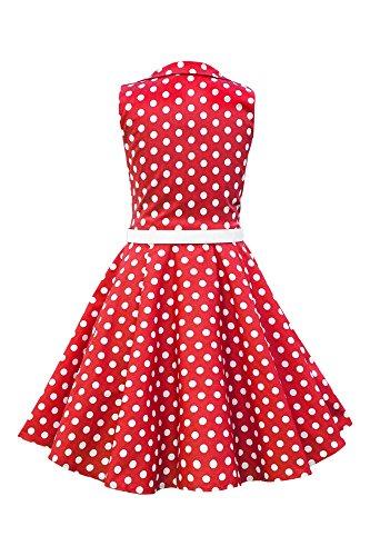 BlackButterfly Niñas 'Holly' Vestido de Lunares Vintage Años 50 Rojo