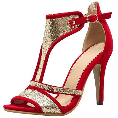 TAOFFEN Mujer Peep Toe Botin Sandalias Tacon De Aguja Tacon Alto Verano Zapatos Rojo