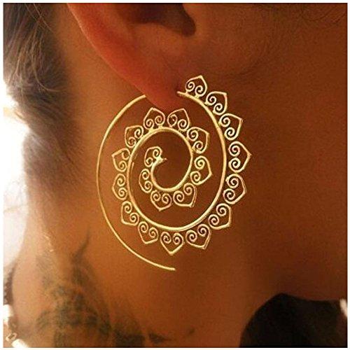 Golden Helix Earrings Vintage Heart Shape Cuff Earrings for Women (Gold) -