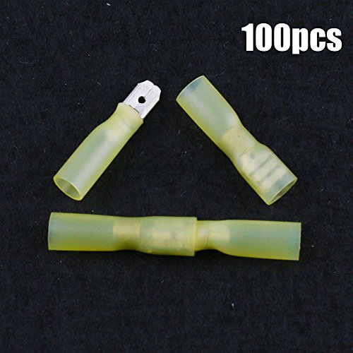 Hilitchi 100Pcs Nylon Heat Shrink Fully Insulated Female Male Spade Wire Electrical Crimp Terminal Quick Wiring Connector (Yellow/12-10AWG) ()