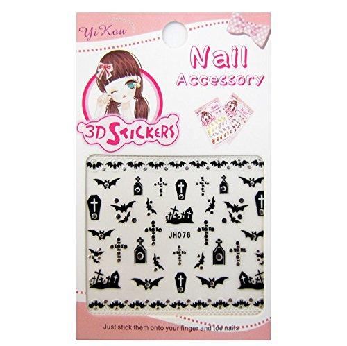 3-D Nail Sticker model Halloween Cross Black/Silver ()