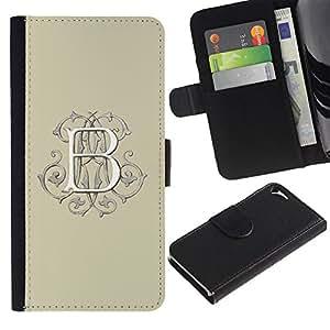 WonderWall Fondo De Pantalla Imagen Diseño Cuero Voltear Ranura Tarjeta Funda Carcasa Cover Skin Case Tapa Para Apple Iphone 5 / 5S - b carta blanca inicial caligrafía amarillento