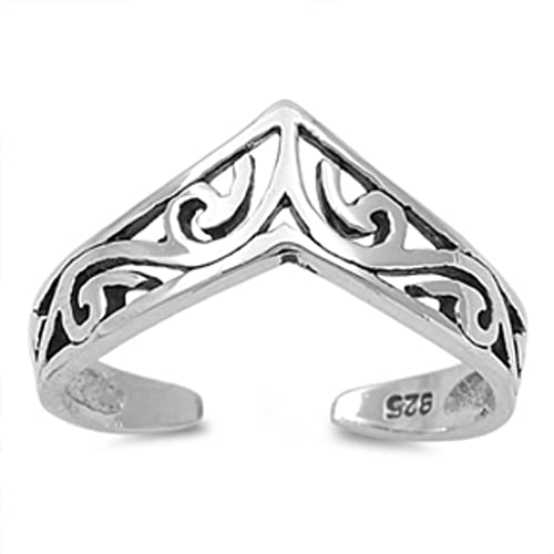 Silver Rhodium Plated Baby Feet Adjustable Toe Ring//Mid Ring