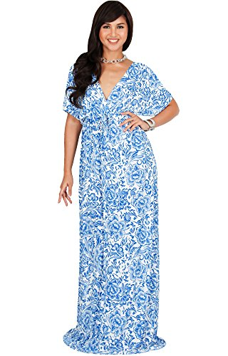 KOH KOH Womens Long Sexy V-Neck Kimono Sleeve Summer Casual Floral Maxi Dress