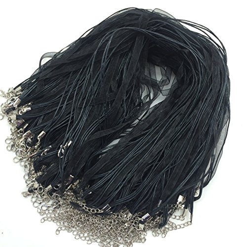 "PEPPERLONELY 100PC 17"" Organza Ribbon with Waxed Cord Necklaces Lobster Clasp Jewelry Making, Black"