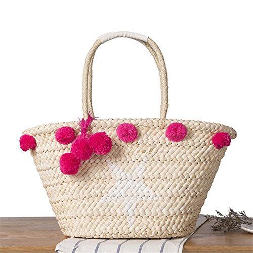 Meaeo Star Summer Beach Handbag Women Hairball Handmade Woven Shopping Tote Travel Bags Purse Shoulder Straw Bags Bohemian, Blue Hot Pink