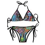 Devil Hippie Hip Hop Two Piece Bikini Swimsuits For Girls Padded Bikini Set Top Beachwear Sexy