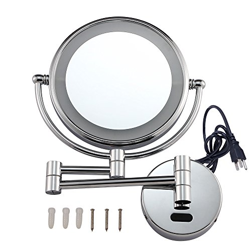 gurun wall mount sensor mirror sensor activated lighted vanity mirror 7x magnification 8 inches. Black Bedroom Furniture Sets. Home Design Ideas