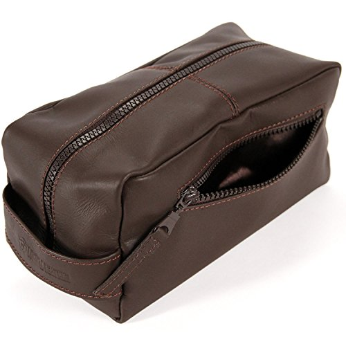 Logical Leather Toiletry Bag - Genuine Leather Dopp Kit Shaving Tote - Brown