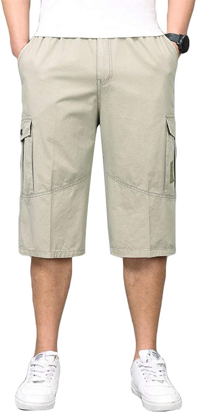 Ketamyy Homme 34 Pantacourt Capri Bermuda Été Coton Grande Taille Pantalon Cour Cordon Serrage Taille Elastique Sept Points Pantalon Tout Droit Poche