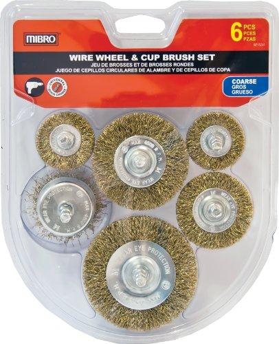 MIBRO 971531 General Purpose Coarse Wire Wheel and Cup Brush Set, 6 Pieces