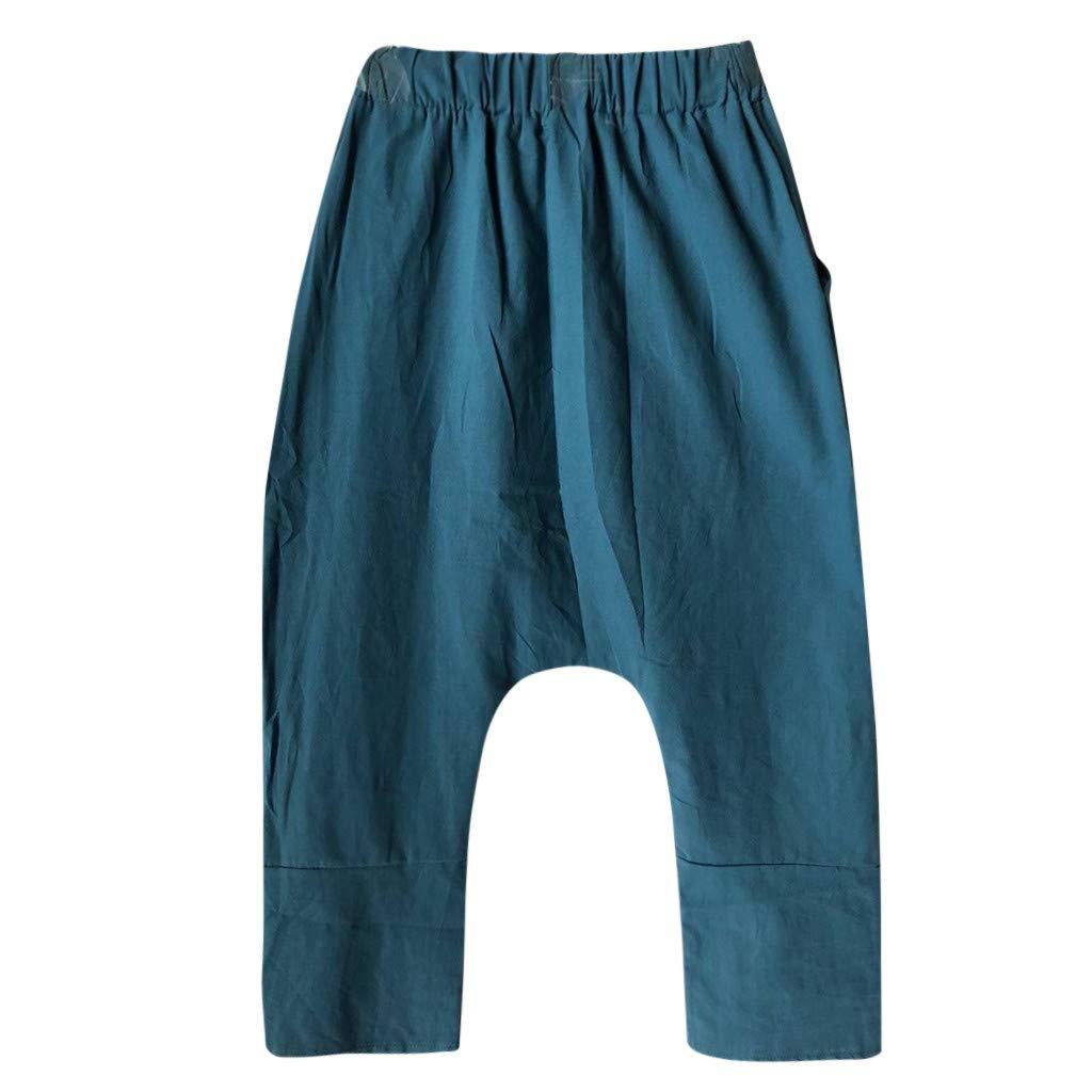 VEZAD Women Plus Size Bohemia Straight Wide Leg Pants Loose Pocket Trousers