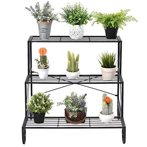 Caraya 3 Tier Outdoor Metal Plant Stand Flower Planter Garden Display Holder Shelf Rack