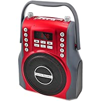 Leting 2.1 Channel Wireless Square Speaker with MP3 Music Player, FM/USB/SD/Guitar input amplifer & with 2 microphones Input (398 Red)