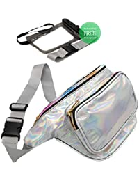 Holographic Fanny Pack for Women with Extender - and Waterproof Phone Pouch - Adjustable Belt - Good for Plus Size - for Travel, Festival, Party, Rave, Cruise