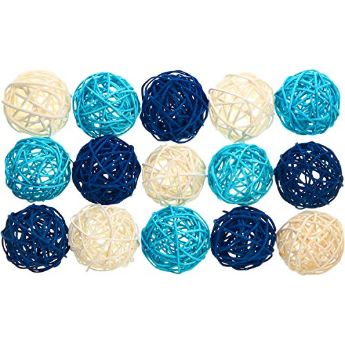 Yaomiao 15 Pieces Wicker Rattan Balls Decorative Orbs Vase Fillers for Craft, Party, Valentine's Day, Wedding Table Decoration, Baby Shower, Aromatherapy Accessories, 1.8 Inch (Blue Light-Blue White) (Diy Rattan Lights Ball)