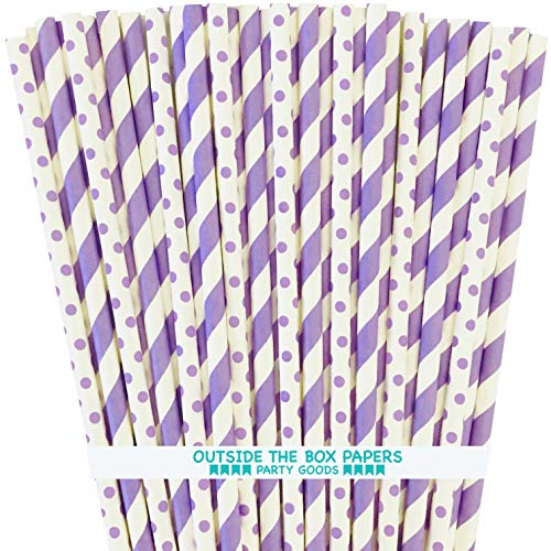 Lavender Lilac White Paper Straws - Stripe Polka Dot - 7.75 inches - 100 Pack - Outside The Box Papers -