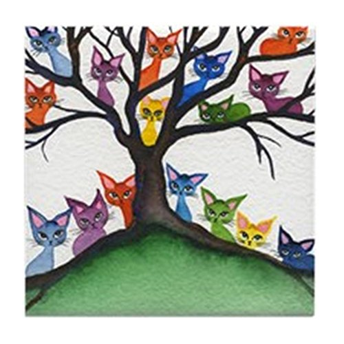 CafePress - Vista Stray Cats Coaster - Tile Coaster, Drink Coaster, Small Trivet ()