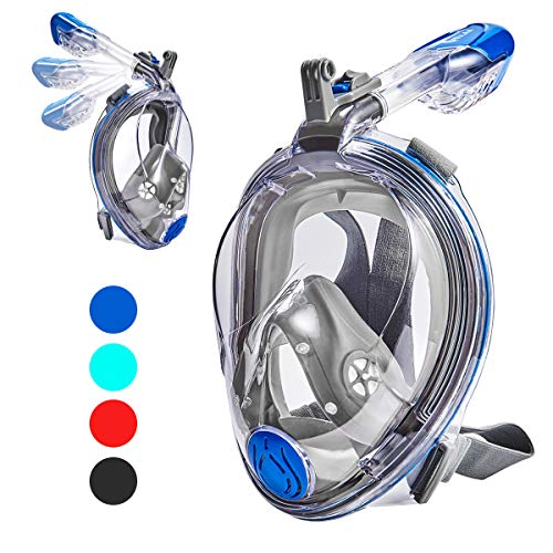 Adjustable Mask - VELLAA Snorkel Mask Full Face for Kids and Adults, Dry Top Set Anti-Fog Anti-Leak 180 Panoramic Large View Free Breath with Detachable Camera Mount, Adjustable Head Straps Foldable Snorkeling Mask