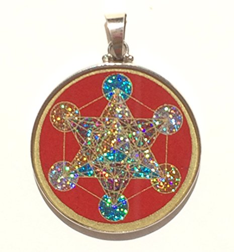 Sacred Geometry Metatron's Cube Pendant in red coral and (Red Coral Cube Beads)