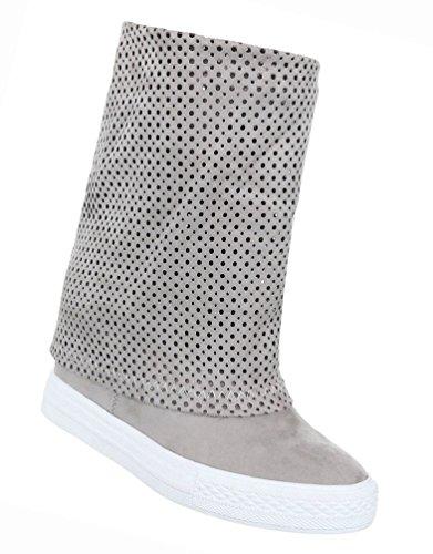 Damen Schuhe Stiefeletten Stiefel Perforierte Keil Wedges Schwarz Hellgrau