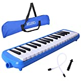 Melodica Cahaya 32 Keys Pianica with Plastic Flexible Long Pipe Short Mouthpiece and Carrying Bag for Children Student Music Lover Blue