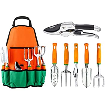 Garden Tool Set, UKOKE 7 Piece Aluminum Hand Tool Kit, Garden Canvas Apron  With