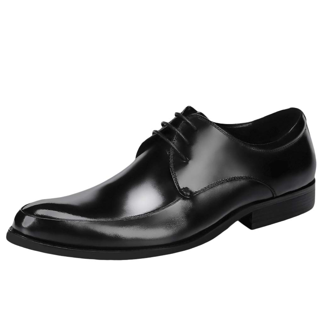 B GanSouy Men's Black Leather Lace-Up Oxfords Business Dress Dinner shoes Smart Casual Comfort Work Office Formal Pointed Toe Red Derby Low-top shoes
