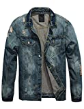 Omoone Mens Stylish Button Up Washed Ripped Distressed Denim Jean Trucker Jacket (Blue02, M)