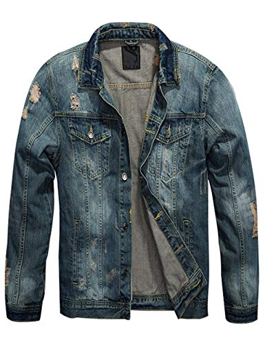 Omoone Mens Stylish Button Up Washed Ripped Distressed Denim Jean Trucker Jacket (Blue02, L) (Jacket Denim Stonewashed)