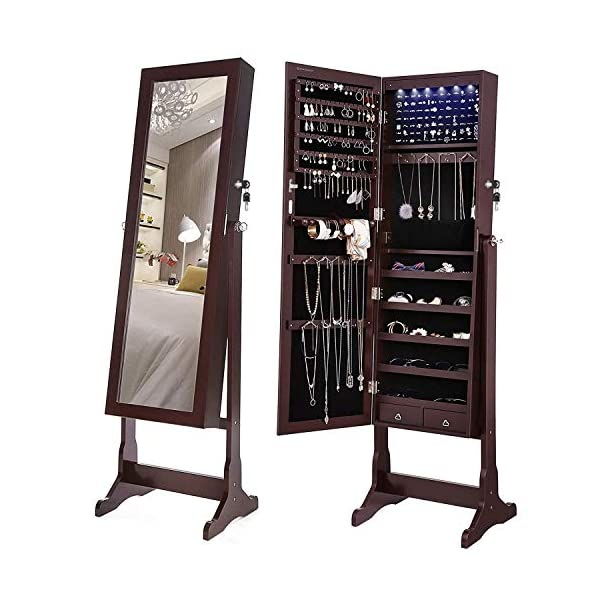 SONGMICS 6 LEDs Jewelry Cabinet Lockable Standing Jewelry Armoire Organizer