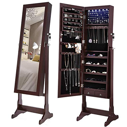 SONGMICS 6 LEDs Mirror Jewelry Cabinet Lockable Standing Mirrored Jewelry Armoire Organizer 2 Drawers Brown UJJC94K