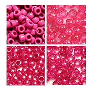 Hot Pink Plastic Craft Pony Beads 4 Bags, Variety Pack, 4 Colors - 520 grams (about 2000 beads) Beads Kit Gift Set