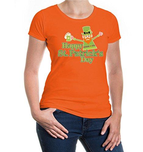 Girlie T-Shirt Happy St. Patricks Day Orange