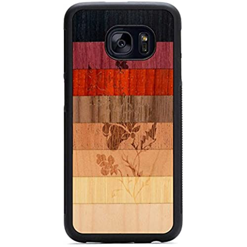 Carved Emily Jane Flower Fade Samsung Galaxy S7 Edge Traveler Wood Case - Black Protective Bumper with Real All Sales