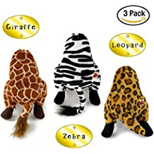 Pet Craft Supply Co. Funny Bums Animals Assortment Soft Plush Stuffed Crinkle Squeaking Cozy Cuddling Dog Toys - 3 Pack