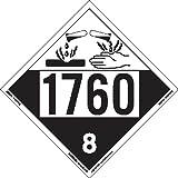 Labelmaster ZRV41760 UN 1760 Corrosive Hazmat Placard, Rigid Vinyl (Pack of 25)