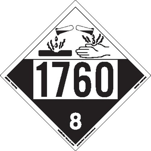 Labelmaster ZRV41760 UN 1760 Corrosive Hazmat Placard, Rigid Vinyl (Pack of 25)