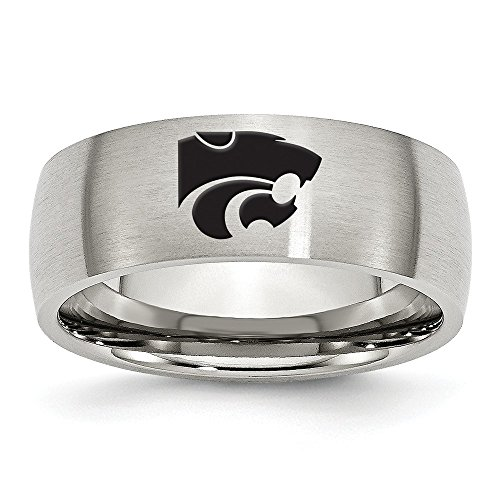 (Size 10 - Stainless Steel Kansas State University Laser Etch Ring (8mm))