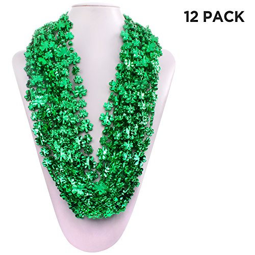 12 Pack Shamrock Bead Green Necklace for St. Patricks Day